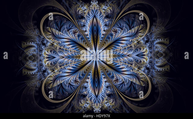 symmetrical fractal pattern as flower or butterfly in window style computer