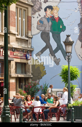 Tintin brussels stock photos tintin brussels stock for Comic book mural