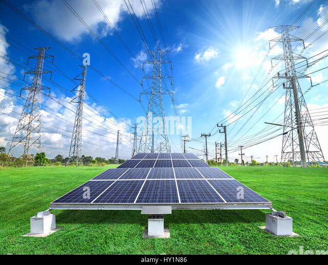 electricity pylon design stock photos electricity pylon design solar energy panels and high voltage electricity pylon against sunny sky stock image