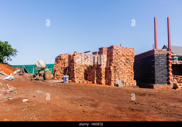 House Building Construction Foundations Brickwork New Home In Progress