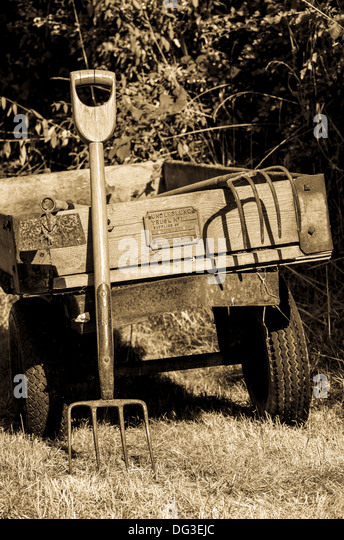 Antique Garden Tools On An Old Trailer.   Stock Image
