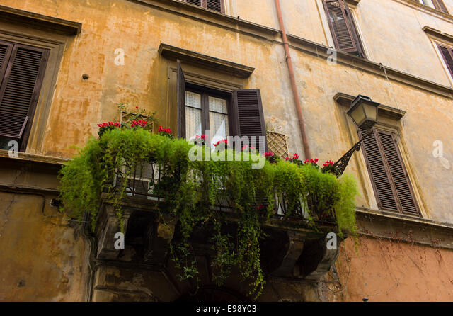 Balcony and flowers rome stock photos balcony and for Balcony in italian