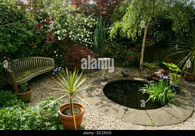 Small garden pond summer stock photos small garden pond for Round garden pond designs