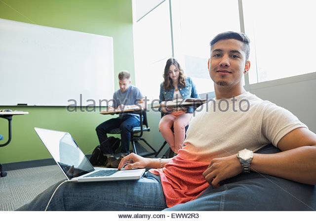 Portrait College Student With Laptop Bean Bag Chair