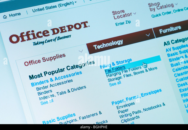 Office Depot Office Supply Store Website   Stock Image