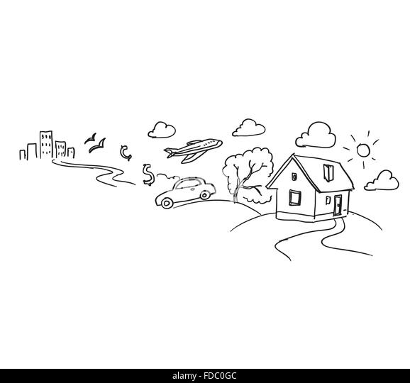 conceptual sketch image with life concepts on white backdrop stock image business life concepts