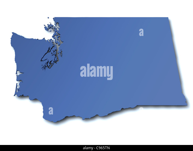 Map Of Washington State Stock Photos Map Of Washington State - Map of the state of washington usa