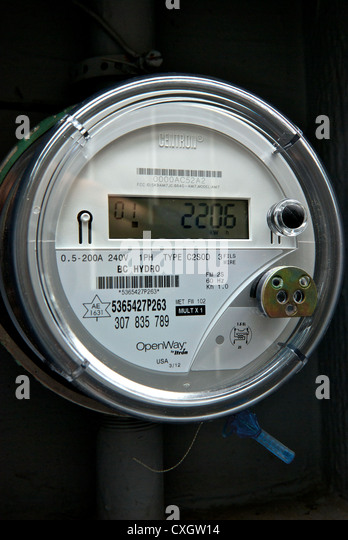 electricity meter digital stock photos electricity meter digital bc hydro centron digital solid state wireless transmission household electricity use smart meter stock image