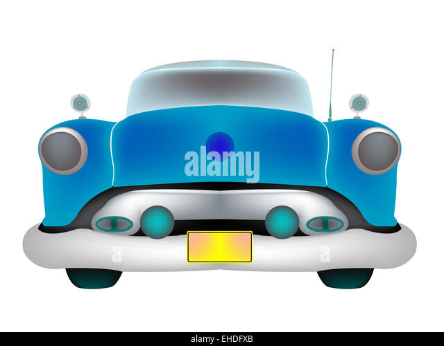 blue classic car front isolated on white stock image