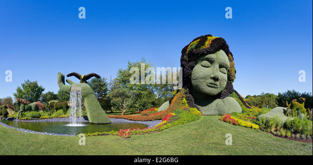 Canada Quebec Province Montreal The Botanical Garden The Mosaicultures  Mother Earth   Stock Image