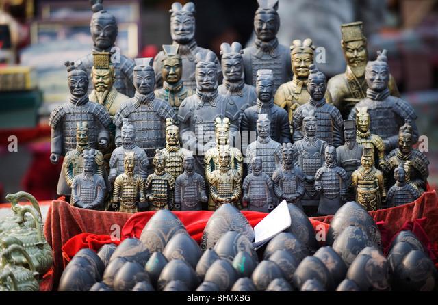 China, Shaanxi Province, Xian, Souvenir Miniature Terracotta Warrior Statues    Stock Image