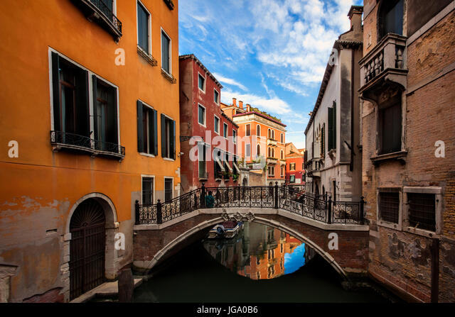 Quiet canal in Venice, Italy - Stock Image