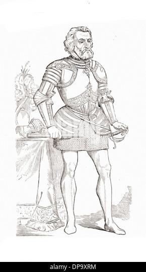 portrait of hernando cortes british engraving xix th century stock image