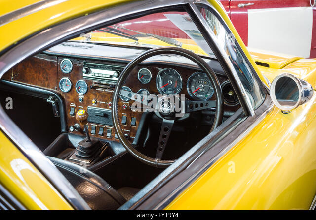 cabin of sports car lotus elan 2 rhd 1971 stock image