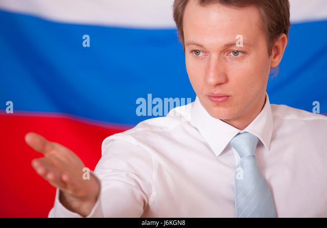 politics russia speaker diplomacy meeting conference man press gesture hand - Stock Image