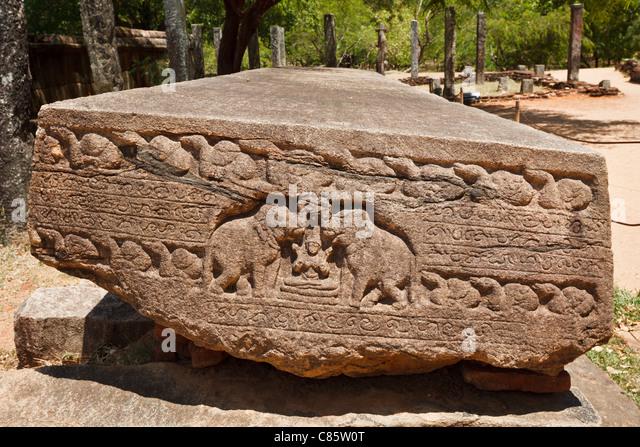 Stone carving anuradhapura sri lanka stock photos