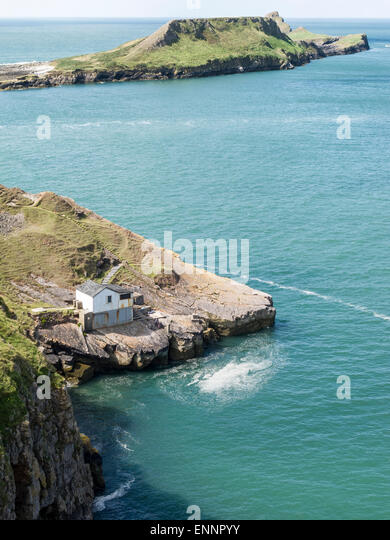 Kitchen Point and Worms Head at Rhossili Bay  Gower Peninsula  Wales    Stock Image. Kitchen Rhossili Gower Wales Stock Photos   Kitchen Rhossili Gower