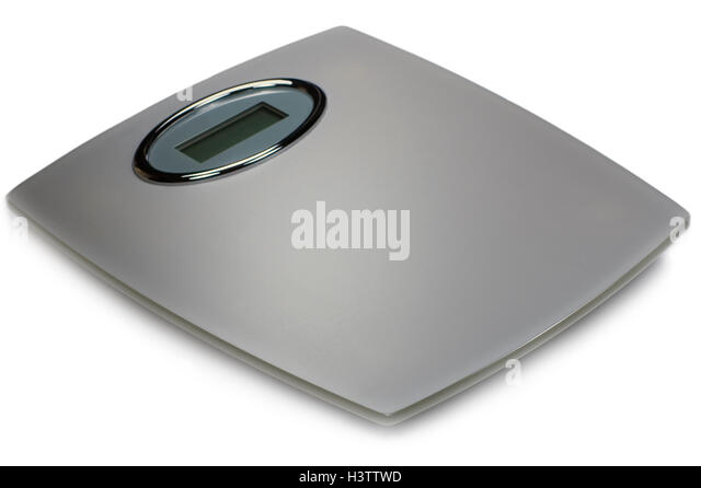 gray digital bathroom scale isolated large detailed closeup silver grey glass stock
