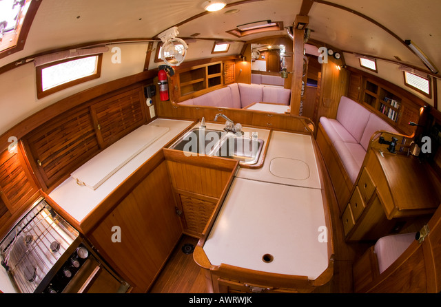 Sailboat Teak Interior Stock Photos