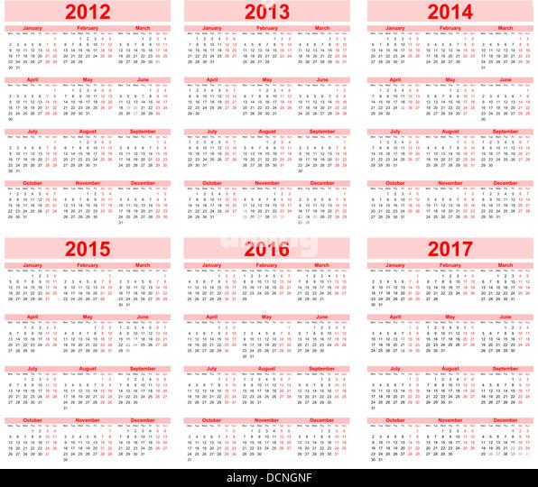 Calendar 2013 2017 Red Stock Photos & Calendar 2013 2017 Red Stock ...