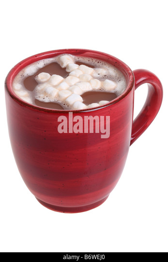 mug of hot cocoa with cut out isolated on white background stock image