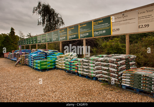 fertilizer and potting compost for sale at garden center centre england uk