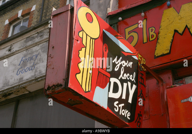 Diy shop london england uk stock photos diy shop london england a home made sign to a do it yourself shop in finsbury park london solutioingenieria Images