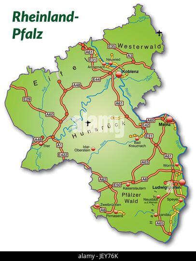 Map Of Rhinelandpalatinate Stock Photos Map Of Rhinelandpalatinate