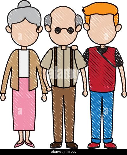 lovely grandparents with young man and woman. family and relationships - Stock Image