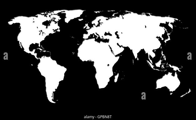 Globe atlas map geography black and white stock photos images white world map on black background stock image gumiabroncs Gallery