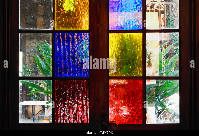 Coloured frosted glass stock photos coloured frosted for Coloured glass panels