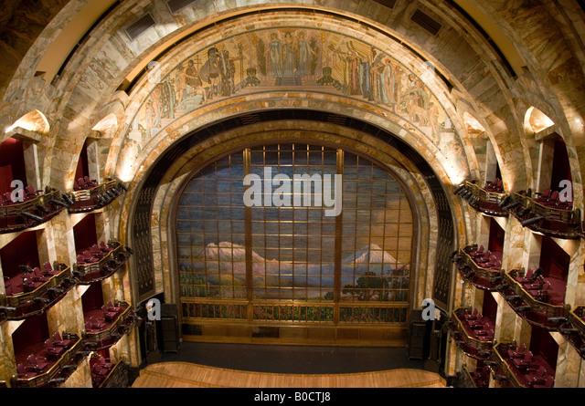 Intricate interior of the Palacio of Bellas Artes, Mexico City. Art Nouveau  and Art