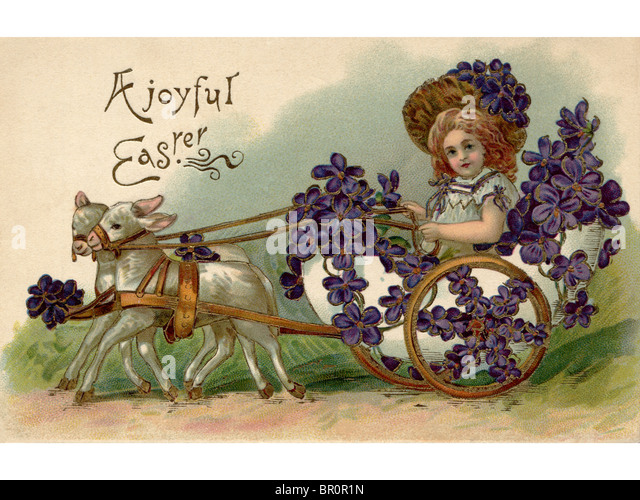 A Vintage Easter Postcard Of Girl Riding In Wagon Full Violets Being Pulled