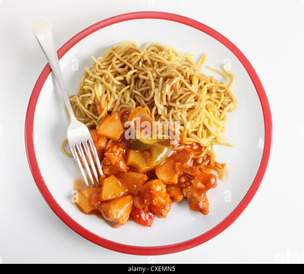 Chicken Sweet And Sour With Chinese Egg Noodles Viewed From Above Stock Image