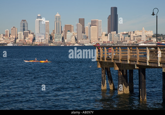 Seattle waterfront cityscape waterscape stock photos for Seattle fishing pier