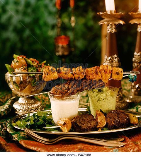 Lamb Kebab With Dip Stock Photos & Lamb Kebab With Dip ...