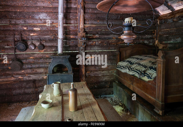 Rustic Log Cabin Interior   Stock Image