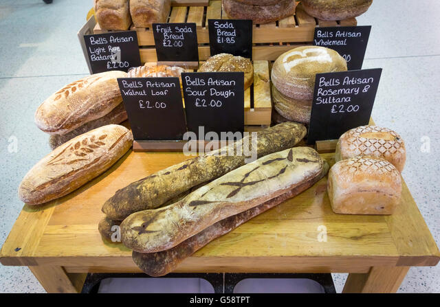 A Display Of Freshly Baked Artisan Bread In Booths Supermarket Lake District England Uk Stock