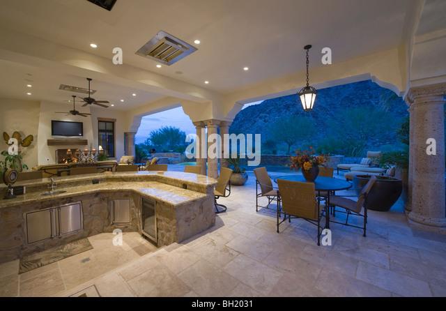 Sunken Kitchen Area Of Split Level Kitchen In Palm Springs Home   Stock  Image