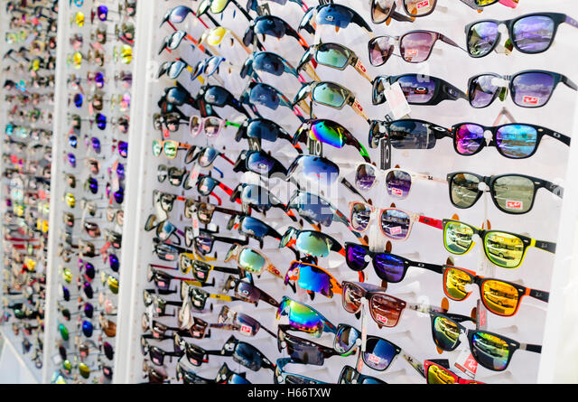 oakley glasses stock  shop in turkey selling counterfeit rayban and oakley sunglasses. stock image