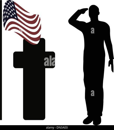 silhouette of an army soldier saluting stock image