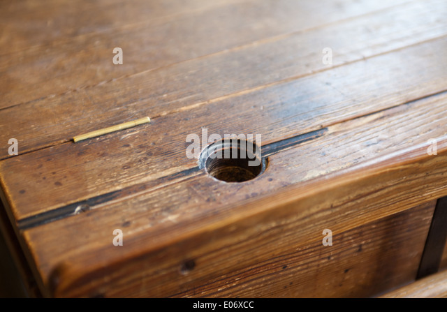 Victorian school desk with ink well - Stock Image - Ink Well Stock Photos & Ink Well Stock Images - Alamy