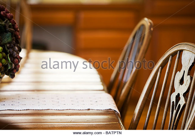 Country Style Kitchen Table And Chairs   Stock Image