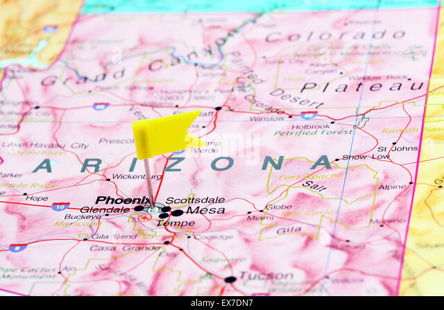 Phoenix Pinned On A Map Of Usa Stock Image