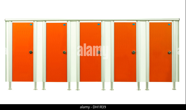 Colorful Orange Restroom Stall Doors Isolated On White Background