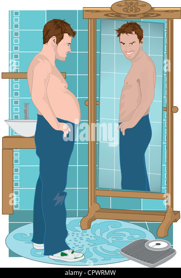 man looking in mirror painting. a man looking at thinner version of himself the mirror - stock image in painting