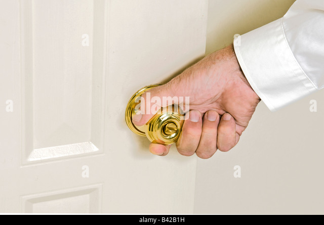 Caucasian Male Hand With White Shirt Opening Door Of Business Success    Stock Image