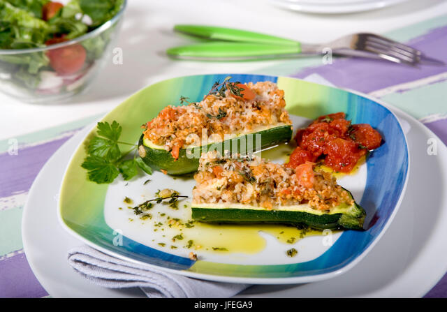 Filled courgette with couscous - Stock Image