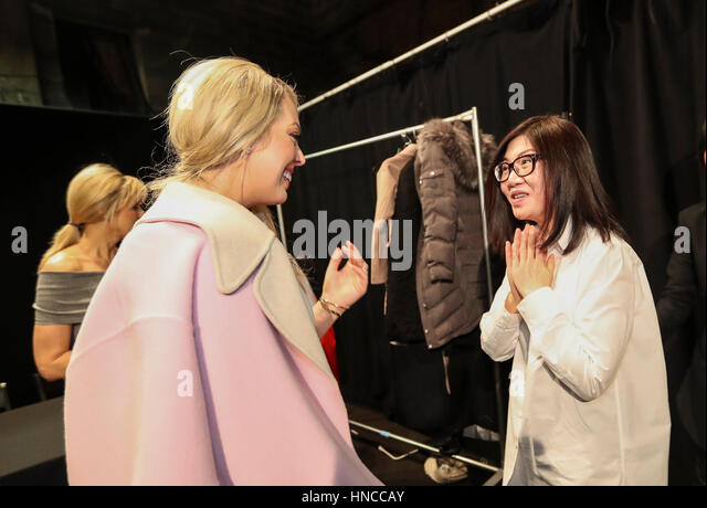 New York, USA. 11th Feb, 2017. Tiffany Trump (L) talks with Chinese designer Wang Tao at the backstage before the - Stock Image