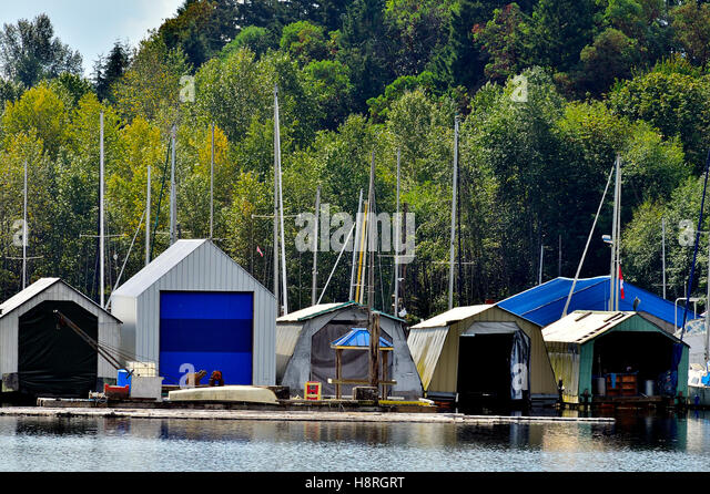 boat storage sheds at a dock on lady smith harbor on vancouver island british columbia canada